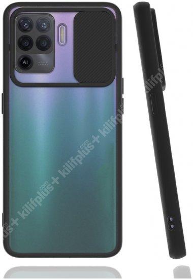 Oppo Reno 5 Lite Kılıf Silikon Sürgülü Lens Korumalı Buzlu Şeffaf - Siyah