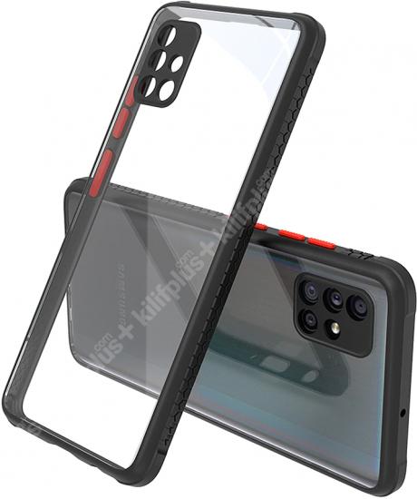Samsung Galaxy A51 Kılıf Arkası Şeffaf Cam Kenarları Kabartmalı Silikon Kaliteli Tank Kapak - Siyah