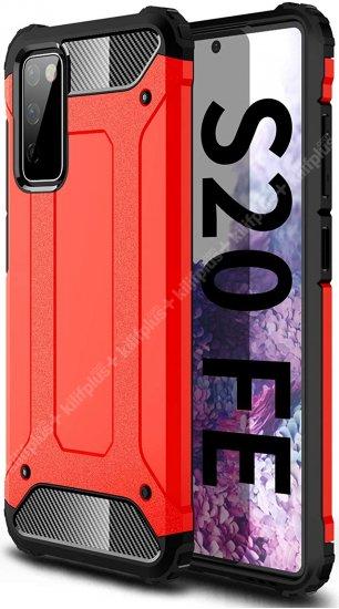 Samsung Galaxy S20 FE Kılıf Zırhlı Tank Crash Silikon Kapak - Kırmızı