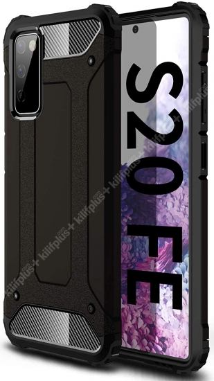 Samsung Galaxy S20 FE Kılıf Double Solid Armor Serisi Zırhlı Kapak - Siyah
