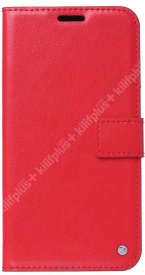 Samsung Galaxy S20 FE Kılıf Standlı Kartlıklı Cüzdanlı Kapaklı - Kırmızı