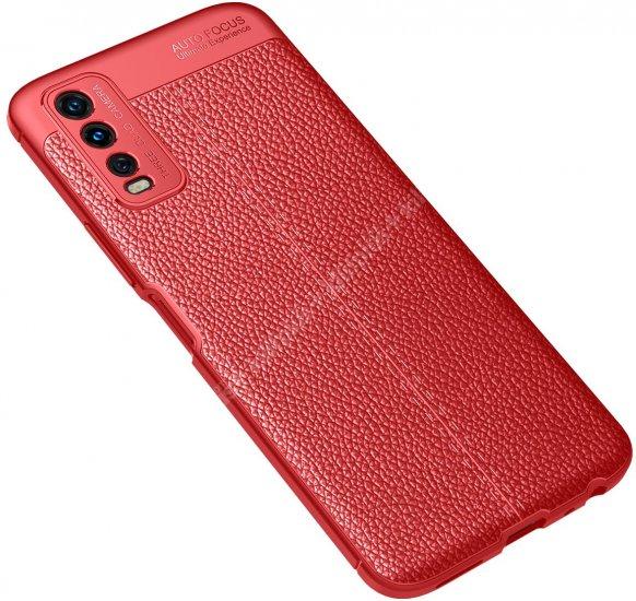 Vivo Y20 Kılıf Deri Görünümlü Parmak İzi Bırakmaz Niss Silikon - Kırmızı