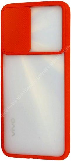 Vivo Y20s Kılıf Silikon Sürgülü Lens Korumalı Buzlu Şeffaf - Kırmızı