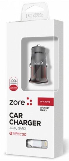 Zore ZR-C304Q Apple Ligthing Hızlı Araç Şarj Seti Q.C 3.0 - Siyah