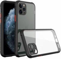 Apple iPhone 11 Pro Max Kılıf Camlı Silikon KAFF Kapak - Siyah