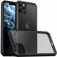 Apple iPhone 11 Pro Max Kılıf Fiber Karbon Şeffaf Inoks Kapak - Siyah