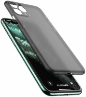 Apple iPhone 11 Pro Max Kılıf Mat Şeffaf Esnek Kaliteli Ultra İnce PP Silikon  - Füme
