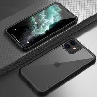 Apple iPhone 11 Pro Max Kılıf Ön ve Arkası Camlı 360 Tam Koruma Silikon Kapak - Siyah
