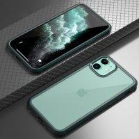 Apple iPhone 11 Pro Max Kılıf Ön ve Arkası Camlı 360 Tam Koruma Silikon Kapak - Yeşil