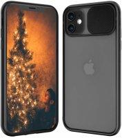 Apple iPhone 12 (6.1) Kılıf Sürgülü Kamera Lens Korumalı Silikon Kapak - Siyah