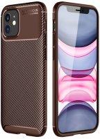 Apple iPhone 12 Mini (5.4) Kılıf Karbon Serisi Mat Fiber Silikon Kapak - Kahve