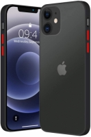 Apple iPhone 12 Mini (5.4) Kılıf Exlusive Arkası Mat Tam Koruma Darbe Emici - Siyah
