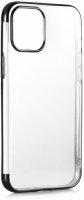 Apple iPhone 12 Mini (5.4) Kılıf Renkli Köşeli Lazer Şeffaf Esnek Silikon - Siyah