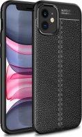 Apple iPhone 12 Mini (5.4) Kılıf Rugan Serisi Silikon Deri Görünümlü Parmak İzi Bırakmaz - Siyah
