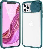 Apple iPhone 12 Pro (6.1) Kılıf Sürgülü Kamera Lens Korumalı Silikon Kapak - Yeşil