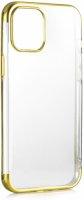 Apple iPhone 12 Pro Max (6.7) Kılıf Renkli Köşeli Lazer Şeffaf Esnek Silikon - Gold