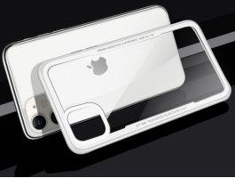 Benks Apple iPhone 11 Kılıf Arkası Camlı Kenarları Silikon Magic Shiny Glass - Beyaz
