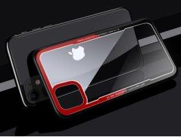 Benks Apple iPhone 11 Kılıf Arkası Camlı Kenarları Silikon Magic Shiny Glass  - Kırmızı Siyah