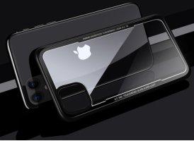 Benks Apple iPhone 11 Kılıf Arkası Camlı Kenarları Silikon Magic Shiny Glass  - Siyah