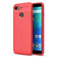General Mobile GM 8 Go Kılıf Deri Görünümlü Parmak İzi Bırakmaz Niss Silikon - Kırmızı