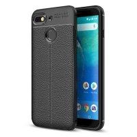 General Mobile GM 8 Go Kılıf Deri Görünümlü Parmak İzi Bırakmaz Niss Silikon - Siyah