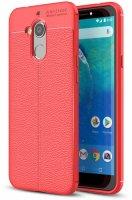 General Mobile GM 8 Kılıf Deri Görünümlü Parmak İzi Bırakmaz Niss Silikon - Kırmızı