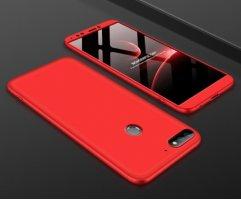 Huawei Honor 7C Kılıf 3 Parçalı 360 Tam Korumalı Rubber AYS Kapak  - Kırmızı