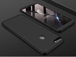 Huawei Honor 7C Kılıf 3 Parçalı 360 Tam Korumalı Rubber AYS Kapak  - Siyah
