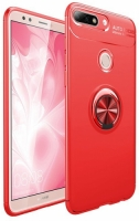 Huawei Honor 7C Kılıf Auto Focus Serisi Soft Premium Standlı Yüzüklü Kapak - Kırmızı