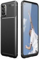 Oppo A52 Kılıf Karbon Serisi Mat Fiber Silikon Kapak - Siyah