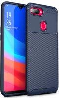 Oppo R15X Kılıf Karbon Serisi Mat Fiber Silikon Negro Kapak - Lacivert