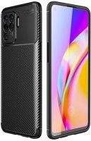 Oppo Reno 5 Lite Kılıf Karbon Serisi Mat Fiber Silikon Negro Kapak - Siyah