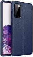 Samsung Galaxy S20 FE Kılıf Rugan Serisi Silikon Deri Görünümlü Parmak İzi Bırakmaz - Lacivert