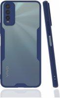 Vivo Y20 Kılıf Kamera Lens Korumalı Arkası Şeffaf Silikon Kapak - Lacivert