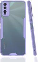 Vivo Y20 Kılıf Kamera Lens Korumalı Arkası Şeffaf Silikon Kapak - Lila