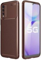 Vivo Y20 Kılıf Karbon Serisi Mat Fiber Silikon Negro Kapak - Kahverengi