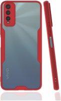 Vivo Y20s Kılıf Kamera Lens Korumalı Arkası Şeffaf Silikon Kapak - Kırmızı