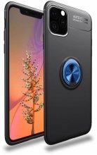 Apple iPhone 11 Pro Max Kılıf Auto Focus Serisi Soft Premium Standlı Yüzüklü Kapak - Mavi - Siyah