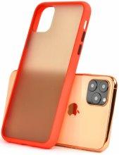 Apple iPhone 11 Pro Max Kılıf Exlusive Arkası Mat Tam Koruma Darbe Emici - Kırmızı