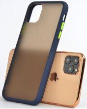 Apple iPhone 11 Pro Max Kılıf Exlusive Arkası Mat Tam Koruma Darbe Emici - Lacivert