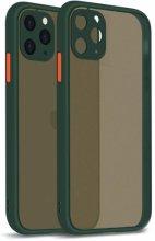 Apple iPhone 11 Pro Max Kılıf Kamera Korumalı Arkası Şeffaf Mat Silikon Kapak - Koyu Yeşil