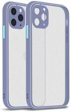 Apple iPhone 11 Pro Max Kılıf Kamera Korumalı Arkası Şeffaf Mat Silikon Kapak - Mor