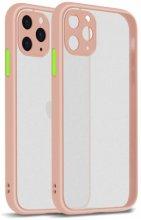 Apple iPhone 11 Pro Max Kılıf Kamera Korumalı Arkası Şeffaf Mat Silikon Kapak - Pembe