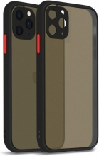Apple iPhone 11 Pro Max Kılıf Kamera Korumalı Arkası Şeffaf Mat Silikon Kapak - Siyah