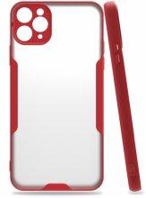 Apple iPhone 11 Pro Max Kılıf Kamera Lens Korumalı Arkası Şeffaf Silikon Kapak - Kırmızı