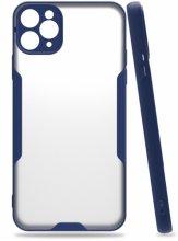 Apple iPhone 11 Pro Max Kılıf Kamera Lens Korumalı Arkası Şeffaf Silikon Kapak - Lacivert