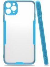 Apple iPhone 11 Pro Max Kılıf Kamera Lens Korumalı Arkası Şeffaf Silikon Kapak - Mavi