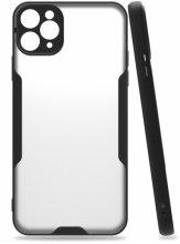 Apple iPhone 11 Pro Max Kılıf Kamera Lens Korumalı Arkası Şeffaf Silikon Kapak - Siyah
