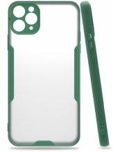 Apple iPhone 11 Pro Max Kılıf Kamera Lens Korumalı Arkası Şeffaf Silikon Kapak - Yeşil