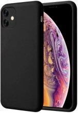 Apple iPhone 11 Pro Max Kılıf Liquid Serisi İçi Kadife İnci Esnek Silikon Kapak - Siyah